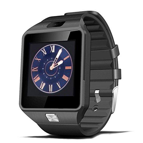 Smartwatch Bluetooth, Deyoun® Bluetooth Intelligente dell'orologio della Vigilanza con la Macchina Fotografica Sync SIM / TF Card Slot per Smartphone Android Samsung HTC Sony Huawei e iPhone iOS (nero)