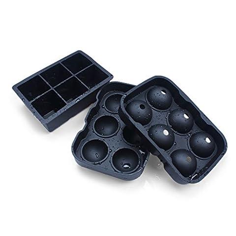 ewinever(R) Ensemble de 2 Silicone sans déversement Six trous Giant Ice Ball Cube Moules Sans inodore Meilleur système de congélation de bac à glace pour Whisky Gin et plus