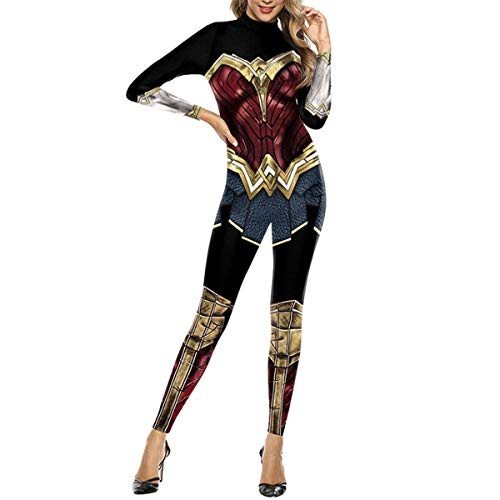 QQWE Wonder Woman Kostüm Kleidung Justice League Cosplay Superheld Weihnachten Halloween Body Overalls,A-XL