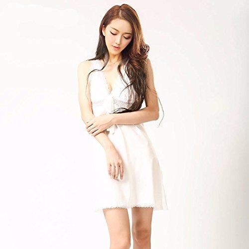 lpkone-Lingerie sexy tentation sexy Halter vêtements sangle courte Chemise dentelle soie, (XL), Blanc White