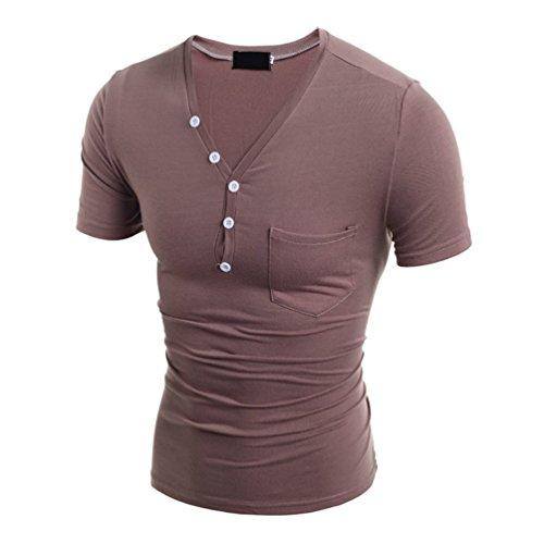 ZhiYuanAN Herren Kurze Ärmel V-Ausschnitt T-Shirt Einfarbig Kurzarm Cardigan Figurbetont Slim Tee Shirt Coffe
