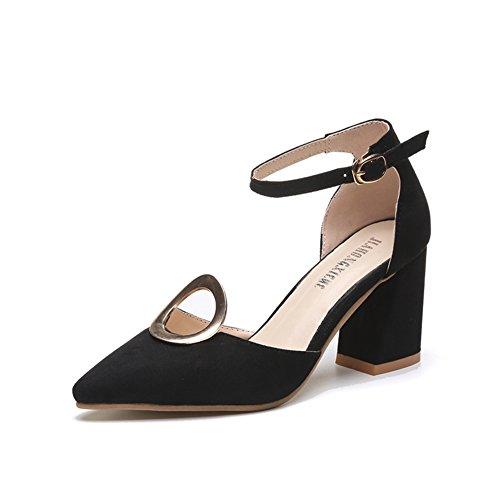 Ladies boucle barrée au printemps et en été avec des chaussures pointues/bordées de talons/creux sandales A