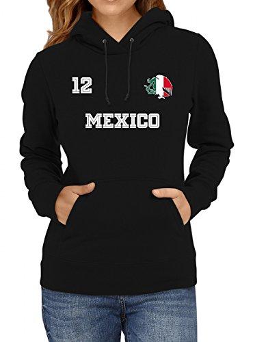 Shirt Happenz Mexiko Weltmeisterschaft 2018#24 Premium Hoodie Fan Trikot Fußball Weltmeisterschaft Nationalmannschaft Frauen Kapuzenpullover, Farbe:Schwarz;Größe:L