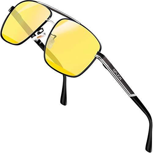 SPLION hd nachtsichtbrille autofahren für brillenträger Rechteckige autofahrerbrille nachtsicht Metall Rahmen 1823(night driving glasses)