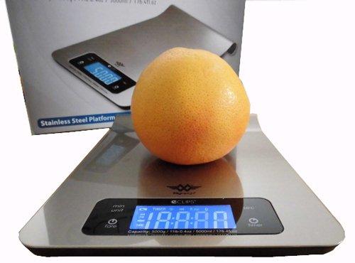 MANCEL BOUTIQUE Küchenwaage, extraflach, Edelstahl–wiegt in Gramm, ml (Flüssigkeiten), Timer, Wandmontage–5kg/1g