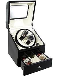 CKB Ltd DELUXE EURO Automatic Watch Winder Remontoir de Montre avec Double Boîte à montres avec tirage - 4 Modes de minuterie premium moteur silencieux - CKBDRAW73-EURO