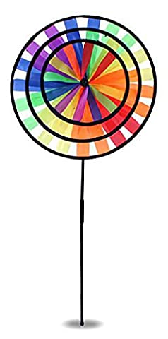 Large Rainbow Triple Wheel Spinner- Ground Stake Included - Colorful Wind Spinner(Rainbow)