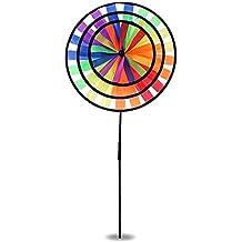 Magic Wheel Triple - UV-beständig Windmühle Windrad Windspiel Aus Stoff Garten Balkon Terrasse Blume Dekoration Deko XXL (Regenbogen)