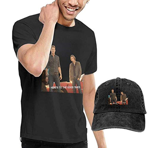 Baostic Herren Kurzarmshirt Men's Florida Georgia Line Here's to The Good Times T Shirt Washed Denim Baseball Dad Caps Black