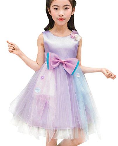 EOZY Fille Enfant Mignon Robe Violet Sans Manche Ceremonie/Mariage Princesse 140