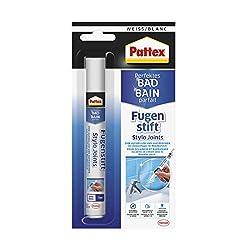 Pattex Perfektes Bad Fugenstift, Fugenweiß zur einfachen und präzisen Anwendung, Marker mit hoher Deckkraft, Fugenstift in weiß tönt zementäre Fugen ein, 1 x 7ml