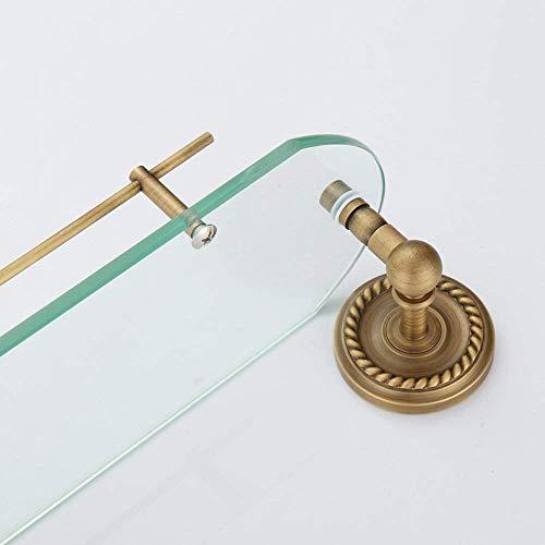 XQY Hochwertiges Küchen-Badezimmer-Regal, Gestell-Einzelne Frisierkommode Badezimmer-Eckregal-Badezimmer-Einzelne Schicht-ausgeglichenes Glas-Regal, Das Qualität, Tuch-Zahnstange sichert,52 * 16 * 13