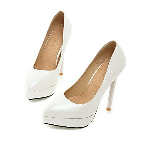 Adee Damen spikes-stilettos nappa-leather Pumpen Schuhe Weiß