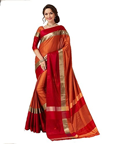 Indian Beauty Cotton Silk Saree with Blouse Piece (Blue N_Orange_Free Size)