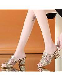 b93e02ee17cc1 Beautyjourney Mule Femme Plate Noir Sandales Confort Talon Compense Sandale  Lacet Femme Tong Femme Paillette Mules