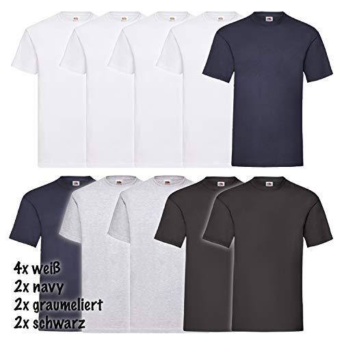 Fruit of the Loom 10 Shirts Valueweight T Rundhals S M L XL XXL 3XL 4XL 5XL Übergröße Diverse Farbsets Auswählbar (XL, 4 Weiß/2 Navy/2 Grau/2 Schwarz)