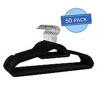 Coat Hangers, Velvet Flocked, Ultra Thin Space Saving Non-Slip Clothes Hangers with Tie/belt Organiser, Black, Pack of 50.