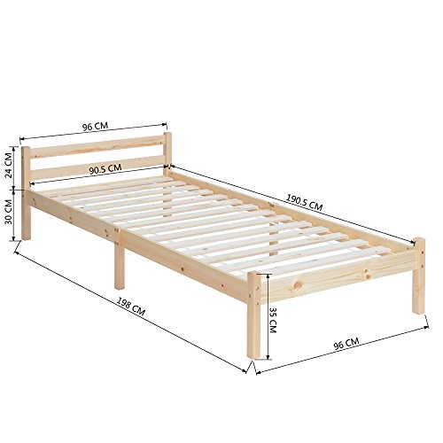 EGGREE 3ft Wooden Beds in Natural Wood, (TM) Strong Structure Solid Pine Wood Single Wood Bed Frame Base,198cm x 96cm