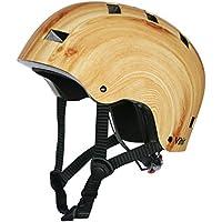 Vihir Multi Sports Bike Skateboard Casco Clásico Adulto y Niños Casco de Dial ajustable, Grano de madera/M
