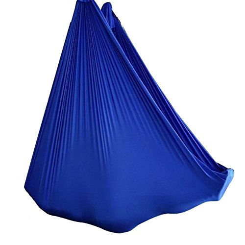 5m Elastic Sewing Aerial Yoga Hängematten Antigravity Pilates Yoga Fitness Blau(beinhalten nicht die hängende Accessoires, nur Acrylfasern Tuch)