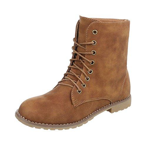Ital-Design Keilstiefeletten Damen-Schuhe Plateau Blockabsatz Schnürer Schnürsenkel Stiefeletten Camel, Gr 38, Zy9085-