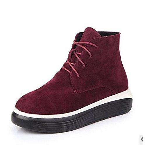 Hsxz Chaussures Femme Pu Automne Hiver Confort Bottes Plat Round Toe Cheville Bottes / Bottines Vêtements Décontractés Vin Armée Vert Noir Vin