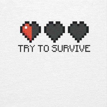 TEXLAB - Try to survive - Herren Langarm T-Shirt Weiß