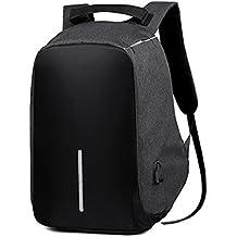 2017Nuevo paño de Oxford doxungo Unisex USB puerto de carga (hasta 17pulgadas) ordenador portátil mochila escuela mochila bolso bolsa mochila negocio maletín [antirrobo] negro negro