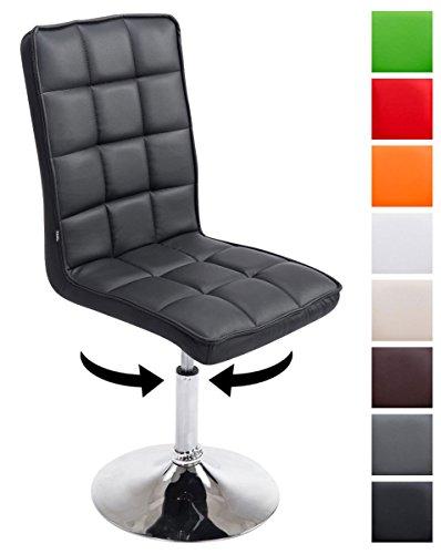 Clp sedie design peking v2 similpelle, sedie sala da pranzo, altezza regolabile 41-55 cm, sedia imbottita e girevole, con schienale alto e senza braccioli, in vari colori nero