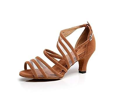 Minitoo QJ7036,Chaussures de Tango Mode en Daim à Lanières Femme - Marron - marron, 34