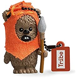 Tribe Disney Star Wars Wicket - Memoria USB 2.0 de 8 GB Pendrive Flash Drive de Goma con Llavero, Color marrón