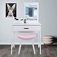 EUCO White Dressing Table with Mirror and Stool Make-up Table For Bedroom Girls Dressing Table