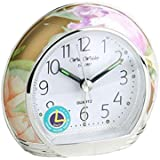 Floral Design Silent Sweep Alarm Clock Clear Arabic Numbers White Dail 9501BF (9501BF)