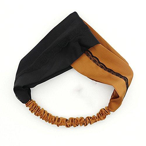 TIANLU Cute Haarschmuck Spitze Elastischer Spitze bügel Geringes Gewicht - Multifunctional Headwear, Schwarz + Brauner Zucker