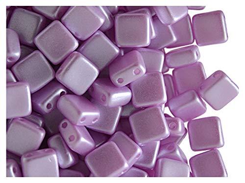 40pcs Tile Beads - Perles de verre pressées tchèques Carrelage 6x6x2.9mm, deux trous, Pastel Lilac