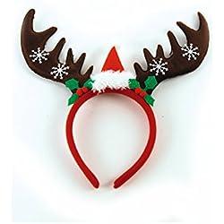 Weihnachten Geweih Elch Elchgeweih Haarreif mit kleiner Weihnachtsmütze und Schneeflocken Rentiergeweih