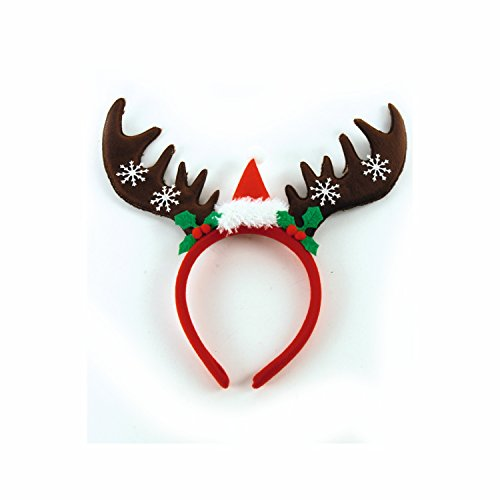 lch Elchgeweih Haarreif mit kleiner Weihnachtsmütze und Schneeflocken Rentiergeweih ()