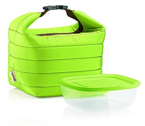 Guzzini Set Borsa Termica con Contenitore Salvafreschezza On The Go, Verde Mela, Borsa 22 x 18 x h22 cm, Contenitore 19.6 x 19.6 x h7 cm, 1400 cc