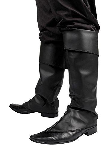 erdbeerloft - Kostüm Zubehör Stiefel-Stulpen Pirat Leder-Optik Gamaschen, (Für Musketiere Mädchen Drei Kostüme)