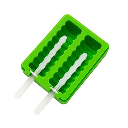 CJX-Ice Tray Silikon-Popsicle-Form, EIS-Pop-Form-Nahrungsmittelgrad-Silikon-Gefrorene EIS-Popsicle-Hersteller mit den Küchenwerkzeugen gelb/grün (Farbe : Grün, größe : 13.5 * 10.5 * 3.3CM(A))
