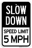 Eugene49Mor Slow Down Speed Limit 5MPH Blechschild–30,5x 45,7cm–.063rostfrei Aluminium–UV-geschützt und Wetterfest–Valley–324AL
