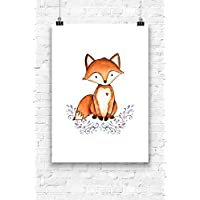 Print Wandbild Poster Bild Wanddeko kleiner Fuchs OHNE RAHMEN Format A4