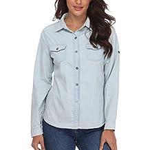 Blusas y Tops Denim Camisas de Mezclilla Mujeres abotonadas Elegantes señoras Abajo Elegantes Mangas largas Bolsillos