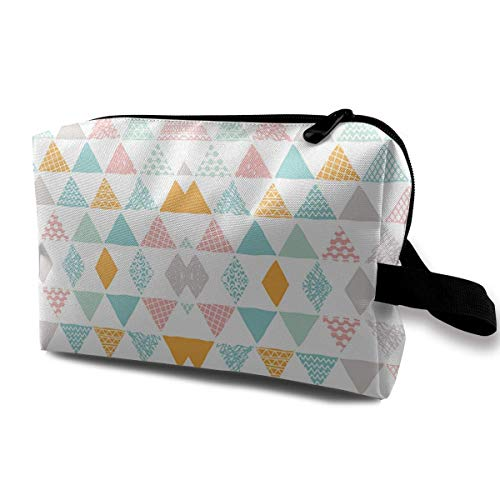 Geometric Triangle Pastel Colors Portable Travel Makeup Cosmetic Bags Organizer Multifunction Case Toiletry Bags -