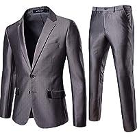 LETTER Disfraz Color Rematada en Ceremonia Boda – Chaqueta Chaleco y Pantalón para Hombre Slim Fit Vestido de Fiesta de Boda de Dos Botones Simple de Ocio para Hombres Juegos de Color Puro