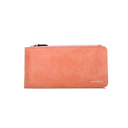 PU Piega Lunga Pelle moda donna Portafoglio borsa Ecopelle Wallet raccoglitore Pocket Portamonete Arancione