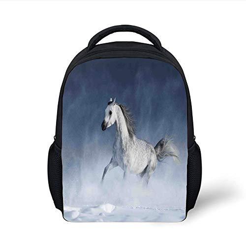 Kids School Backpack Arabian,Arabian Horse Galloping During a Snowstorm Stallion Winter Snow View Equine Print,Night Blue Plain Bookbag Travel Daypack -