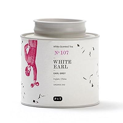 P & T White Earl, (Earl Grey Blanc) Mélange Bio de Thé Blanc en Vrac, Mélange de Thé Blanc Chinois avec Bergamote, Earl Grey Style, Boîte (40g/1,4oz)