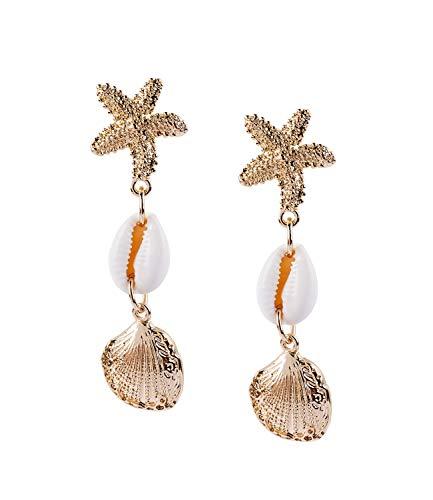 SIX Damen Ohrringe, Ohrhänger im maritimen Look, goldene Muscheln und Naturmuscheln, goldener Seestern als Stecker (787-434)