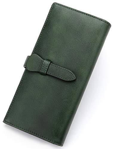 IVTG Damen Geldbörse aus echtem Leder, lang, Vintage-Rindsleder, handgefertigt, Kartenhalter - Grün - Klein -